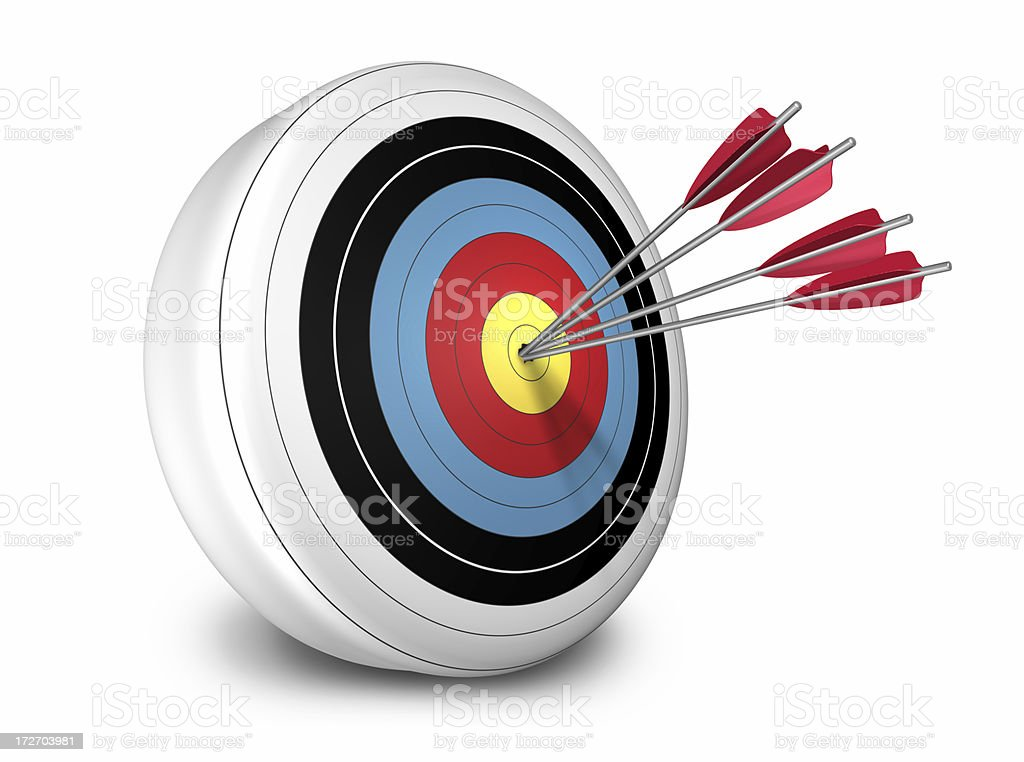 Arrows hitting target royalty-free stock photo