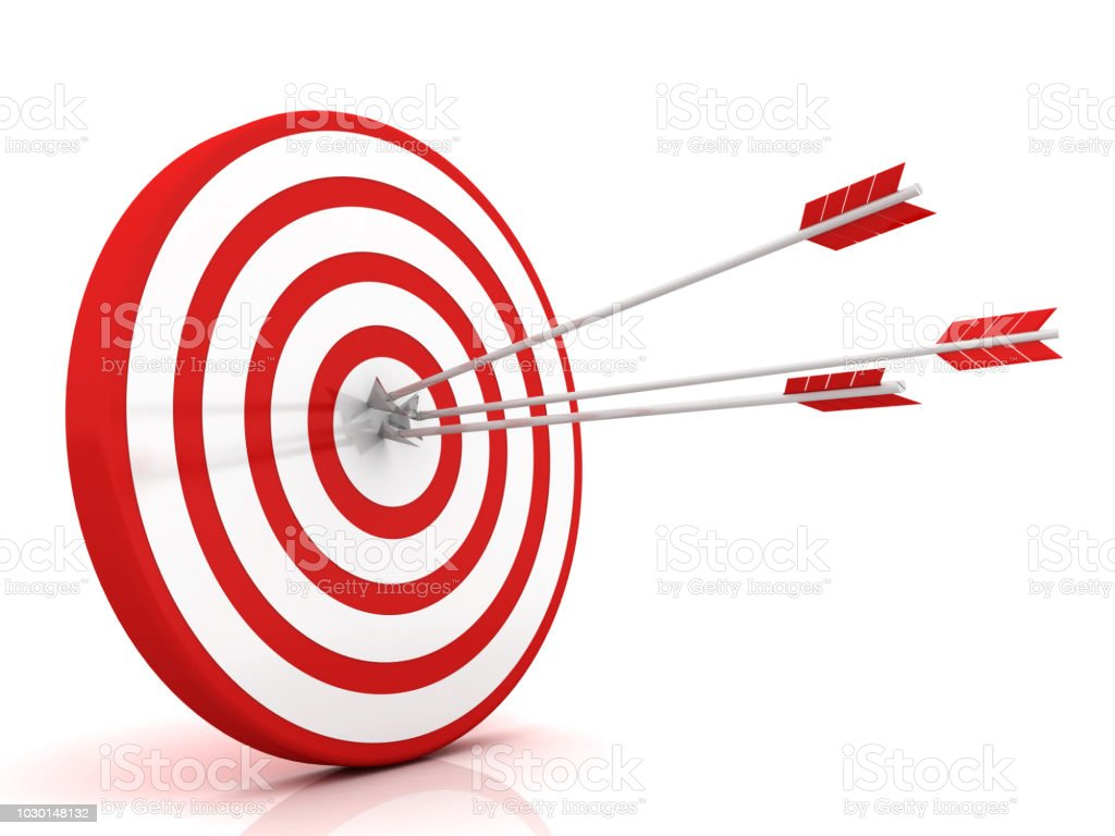 Arrows hitting the center of target - success business concept stock photo