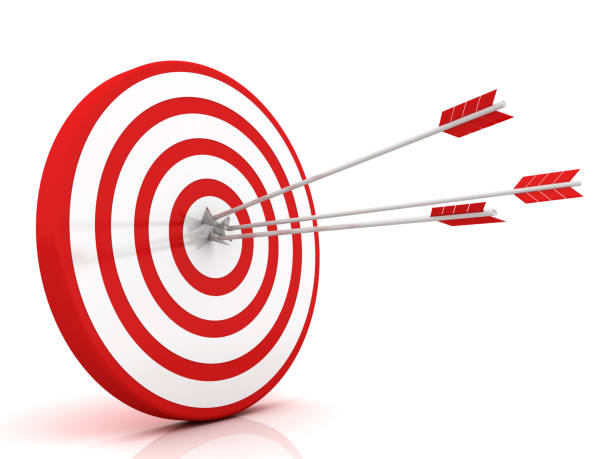 arrows hitting the center of target - success business concept - sports target stock photos and pictures