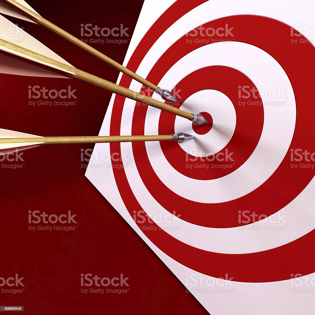 arrows in the centre of tagret royalty-free stock photo