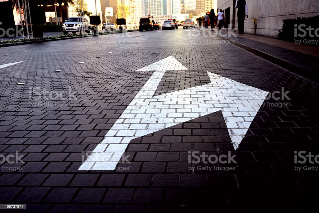 Arrows in the evening stock photo