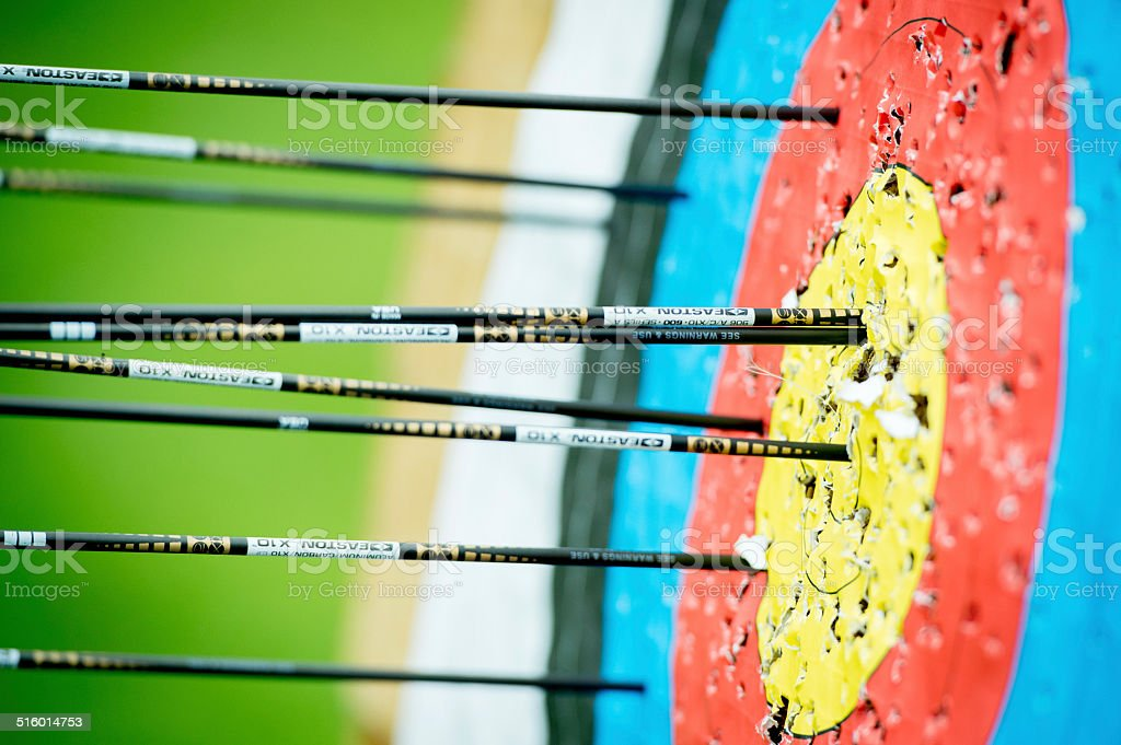 Arrows in the target stock photo