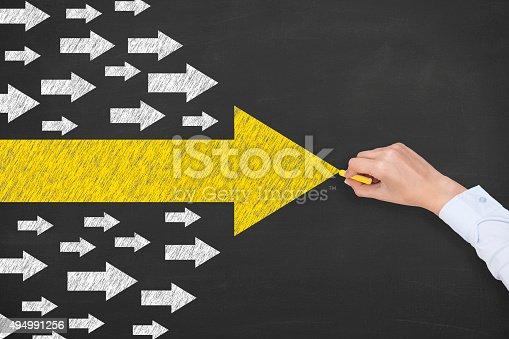 istock Arrows Leadership Concept on Chalkboard 494991256