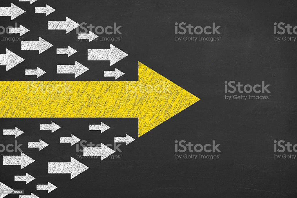 Arrows Leadership Concept on Chalkboard stock photo