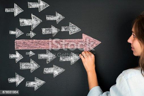 istock Arrows Leadership Concept on Chalkboard 878331934