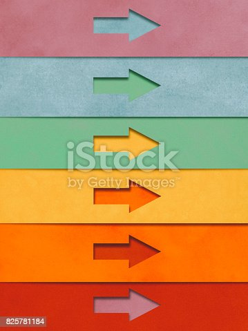 istock Arrows locked on target paper cutting style 825781184