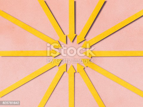 istock Arrows locked on target paper cutting style 825781642