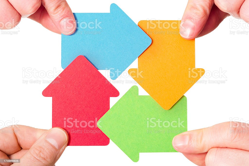 Arrows move around in a circle stock photo