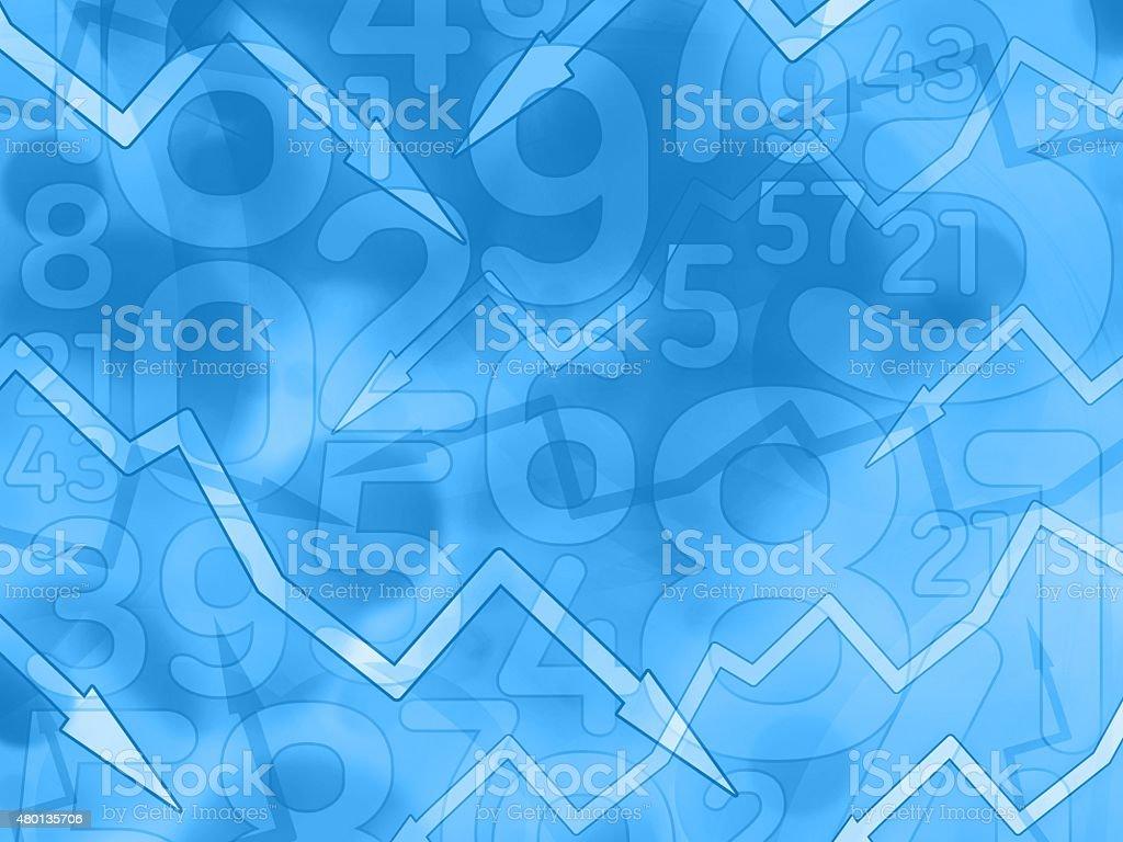 Strzałki numery finansowe ciemnym niebieskim tle – zdjęcie