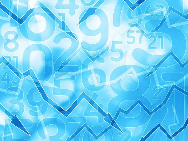 Strzałki finansowe światło niebieskie tło numery – zdjęcie