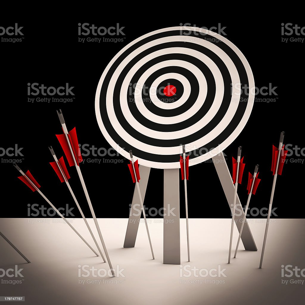 Arrows On Floor Showing Missing Objective stock photo