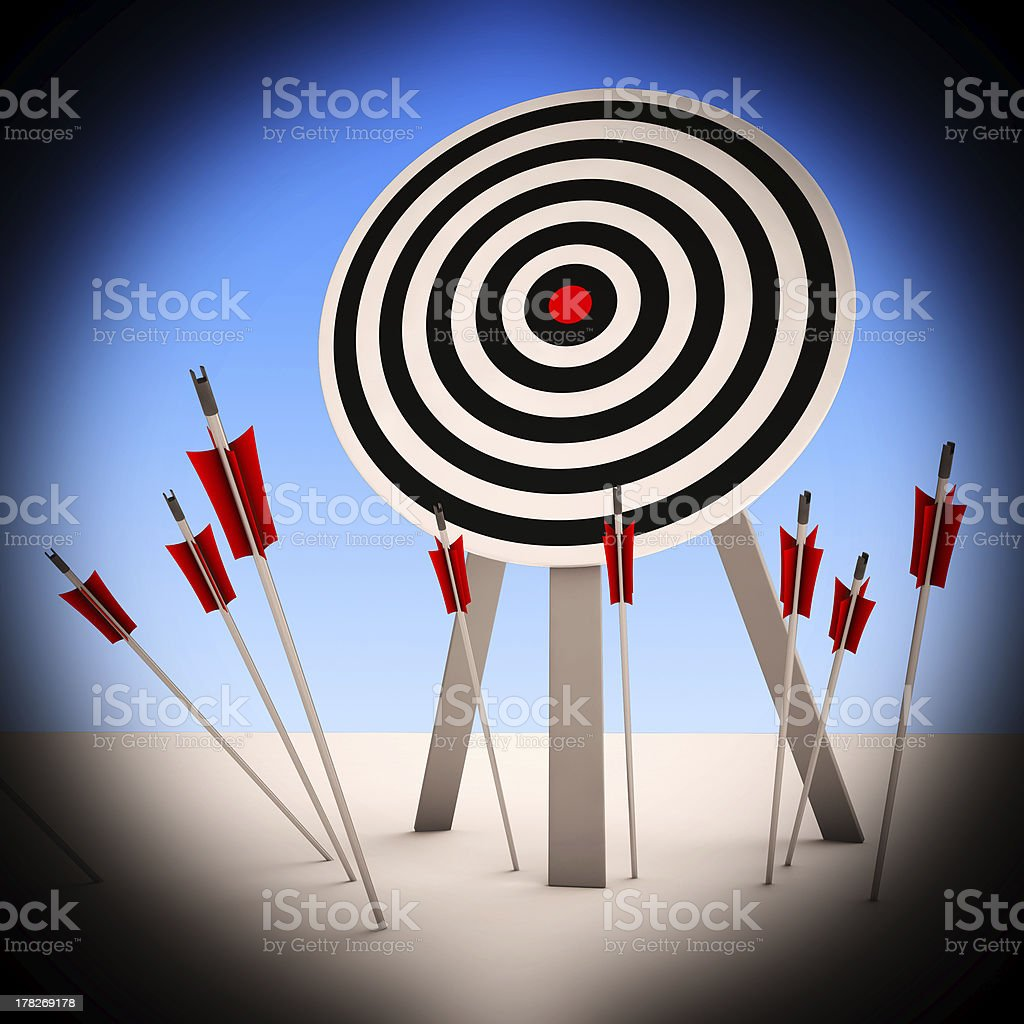 Arrows On Floor Shows Ineffective Targeting stock photo
