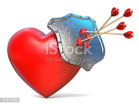istock Arrows on shield and red heart 3D 918723352