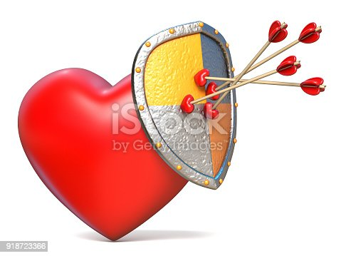 istock Arrows on shield and red heart 3D 918723366