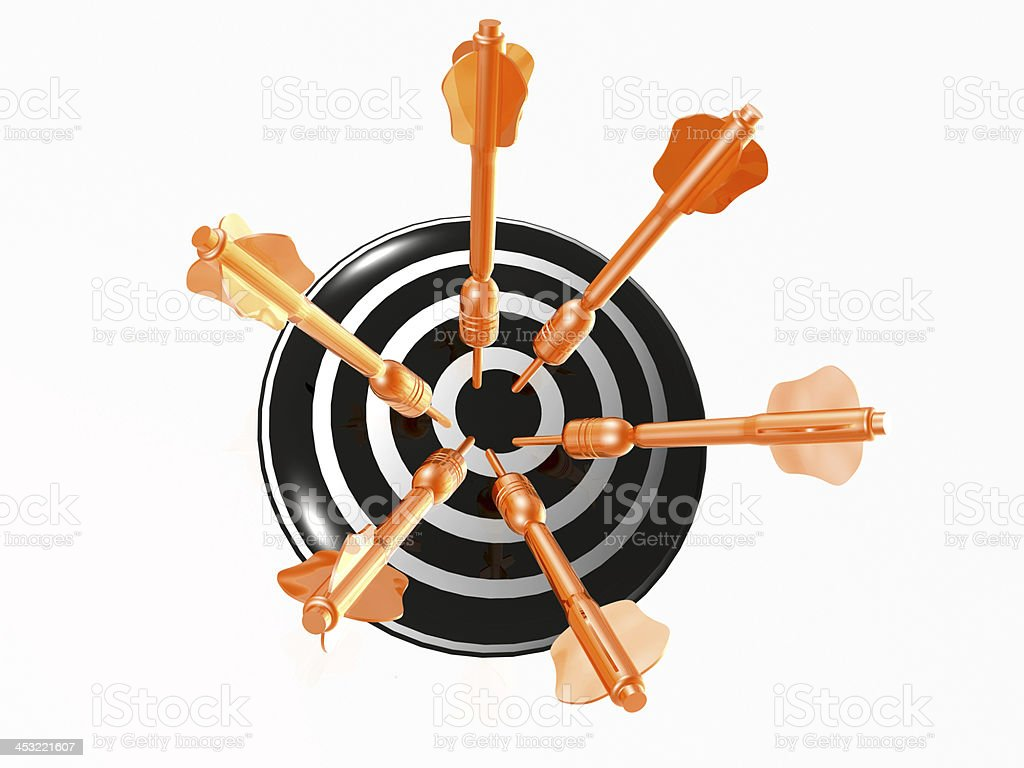 Arrows on the target royalty-free stock photo