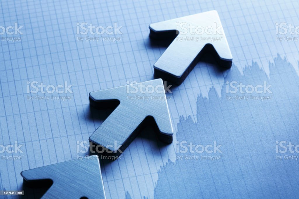 Arrows On Top Of Chart stock photo