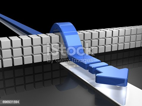 istock Arrows overcoming obstacles indicate success. 696931594