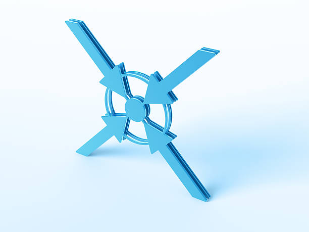 Arrows Pointing Center 3D Render of a blue symbol with four arrows pointing to the center. Very high resolution available! Use it for Your own composings!Related images: blue 3d business NOT map NOT background stock pictures, royalty-free photos & images