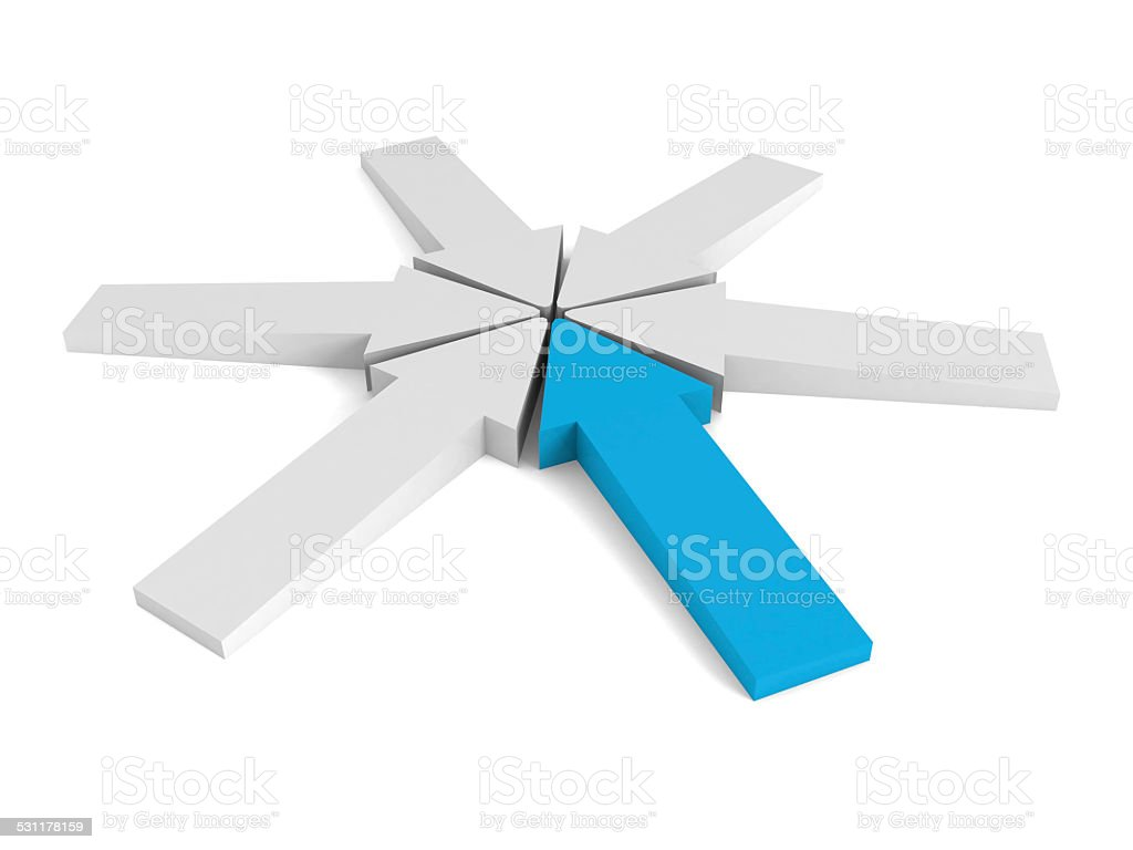 arrows pointing to a center point on white background stock photo