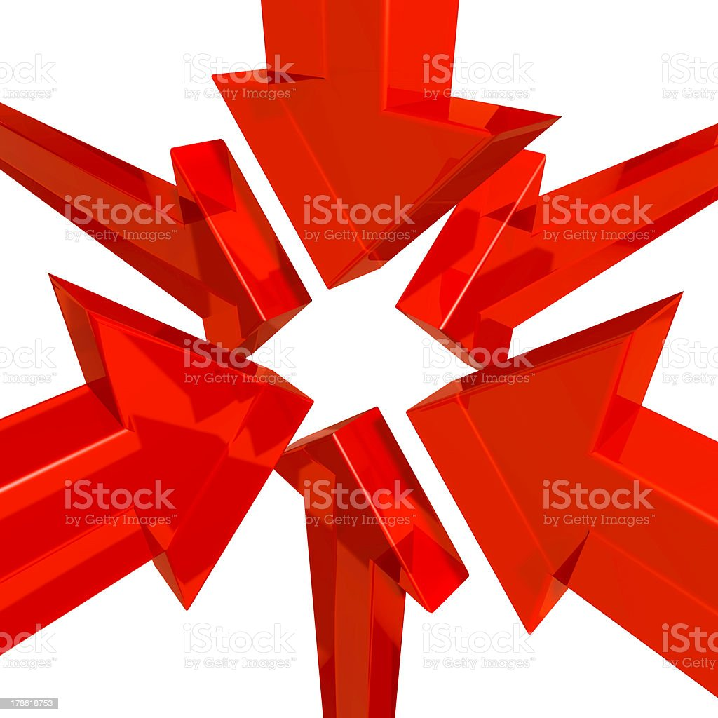arrows pointing to the centre stock photo