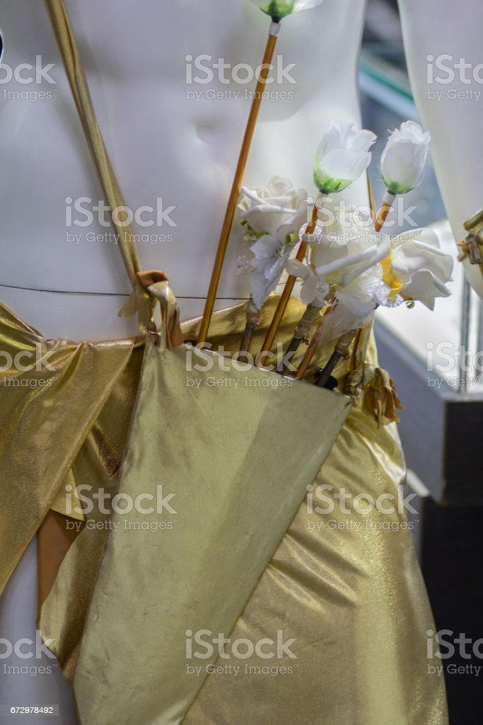 Arrows rose in the quiver of cupid's closeup stock photo