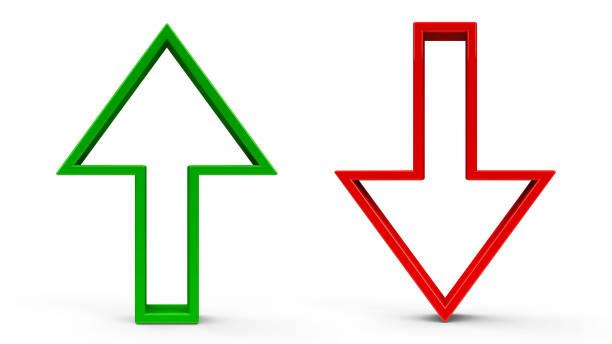 flechas arriba y abajo - arrows fotografías e imágenes de stock