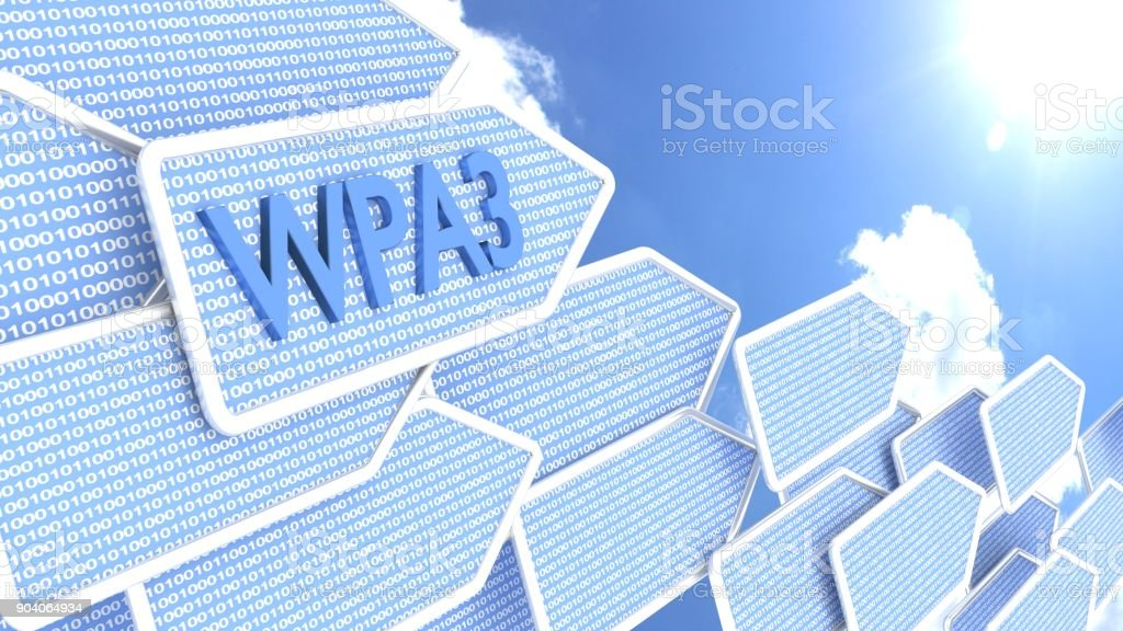 Arrows with binary background and abbreviation WPA3 pointing towards blue sky and sun stock photo