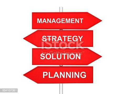 arrows with conceptual image of strategy. 3d render