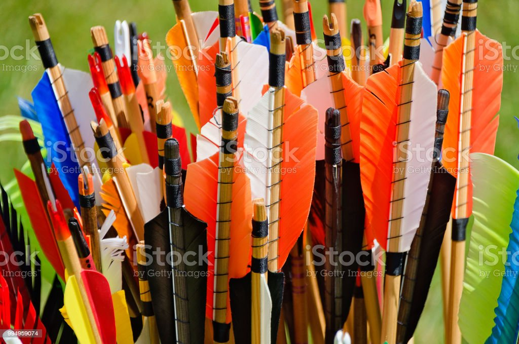 arrows with feathers stock photo