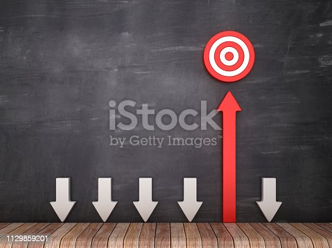 istock Arrows with Target - Chalkboard Background - 3D Rendering 1129859201