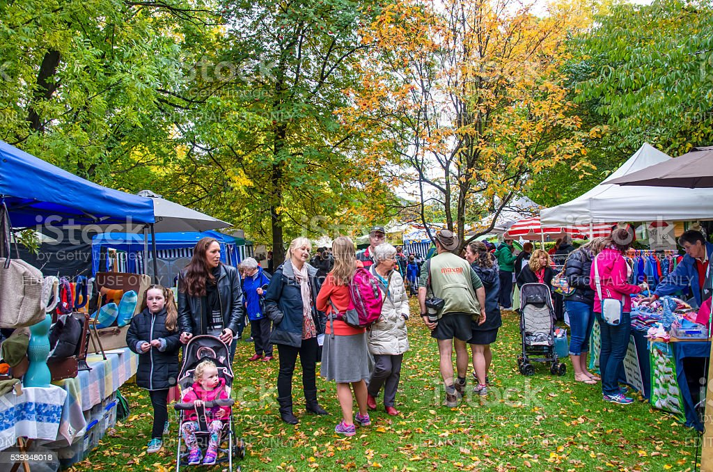 Arrowtown Autumn Festival in New Zealand. stock photo