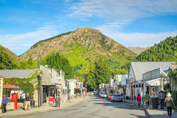 Arrowtown in New Zealand. stock photo