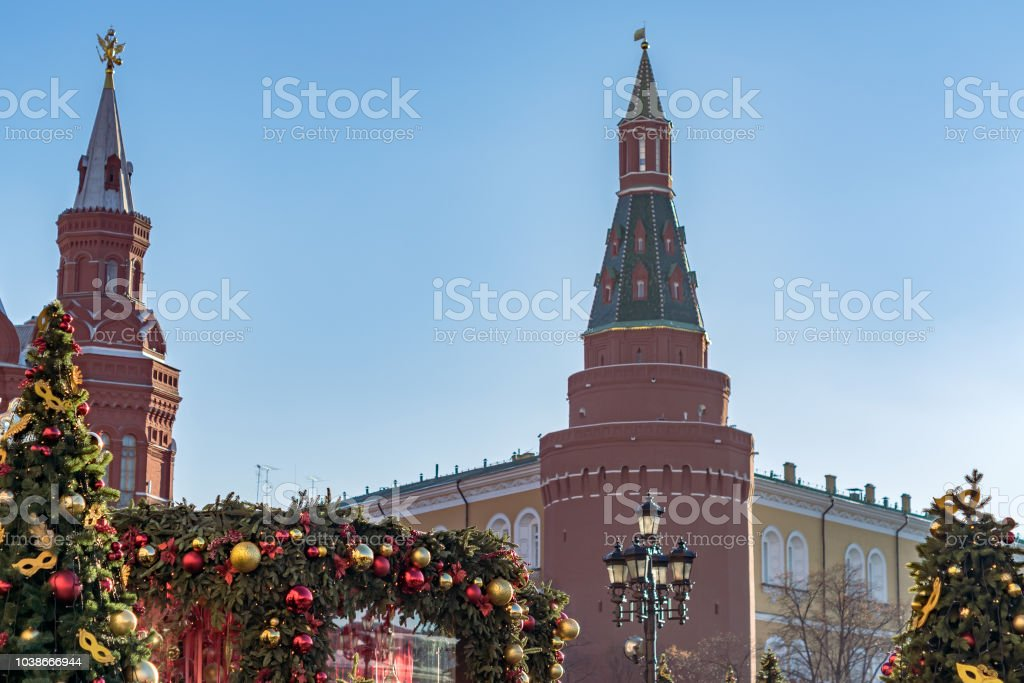 Arsenal angular tower of Moscow Kremlin and christmas decorations. Winter holidays in Russia stock photo