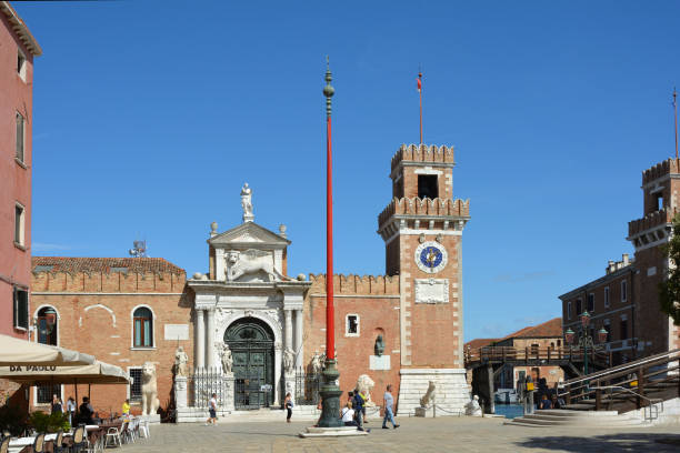 Arsenal of Venice - Italy. Venice, Veneto, Italy - September 10, 2019: View of the entrance to the historic Venetian Arsenal and Naval Museum in Castello district of Venice - Italy. porta magna stock pictures, royalty-free photos & images