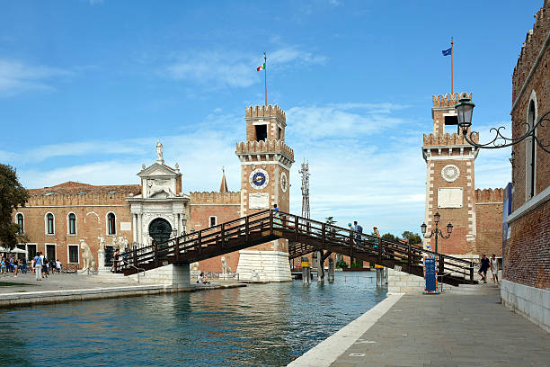 Arsenal of Venice - Italy. Venice, Veneto, Italy - September 5, 2016: View of the entrance to the historic Venetian Arsenal and Naval Museum in Castello district of Venice in Italy. porta magna stock pictures, royalty-free photos & images