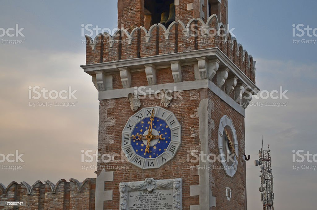 Arsenale Tower Clock royalty-free stock photo