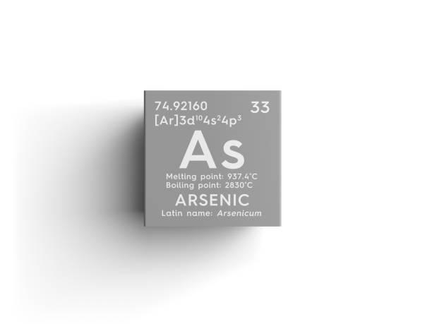 비소입니다. Arsenicum입니다. 비금속입니다. 멘델레예프의 주기율표의 화학 요소입니다. 스톡 사진