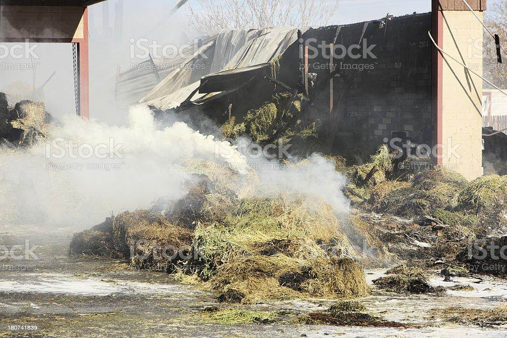 Arson Fire Smoke Burning Hay Barn stock photo