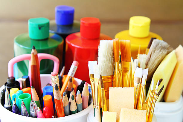 Art and drawing supplies stock photo