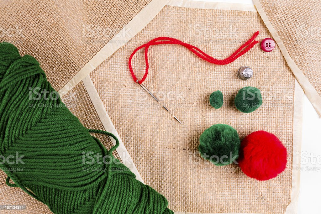 Art and Hobby:  Assorted sewing, craft supplies. royalty-free stock photo