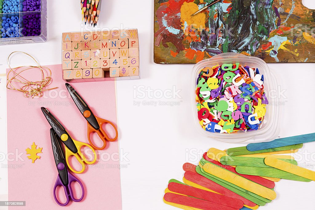 Art and Hobby:  Scrapbooking supplies ready for project. stock photo
