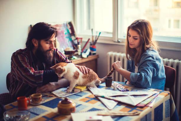 kunst und liebe - katze zeichnen stock-fotos und bilder