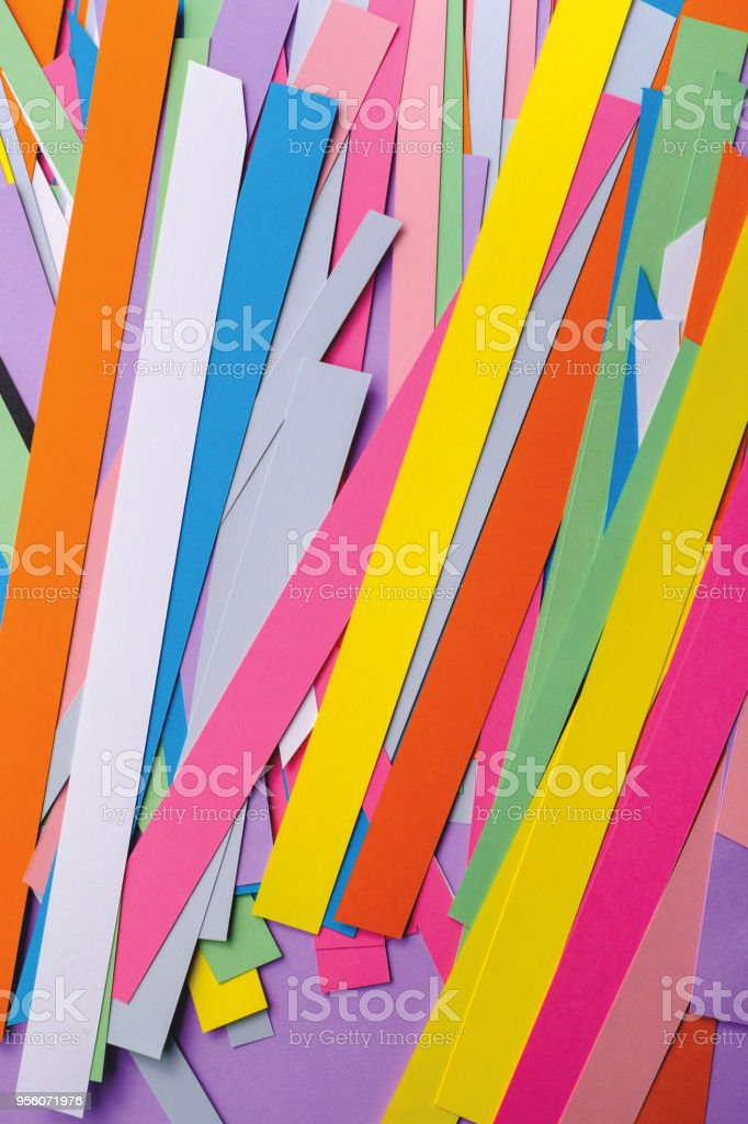 art background of colored paper stripes. stock photo