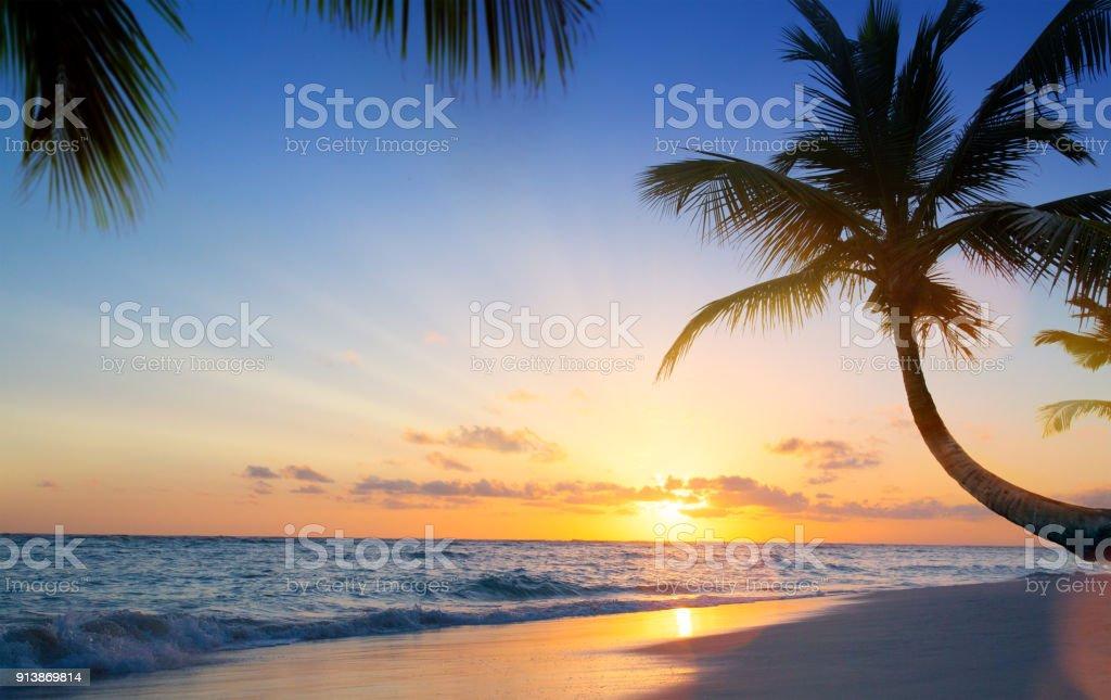 Arte hermosa puesta de sol en la playa tropical - foto de stock