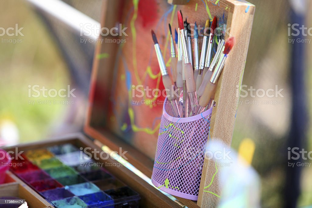Art Box with painting Brushes royalty-free stock photo