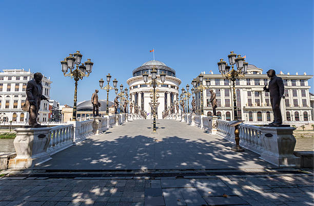 Art Bridge in Skopje, Macedonia stock photo