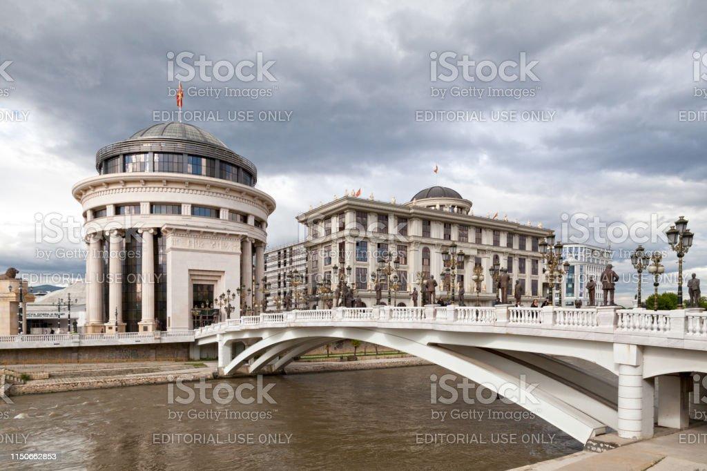 Art Bridge in Skopje stock photo