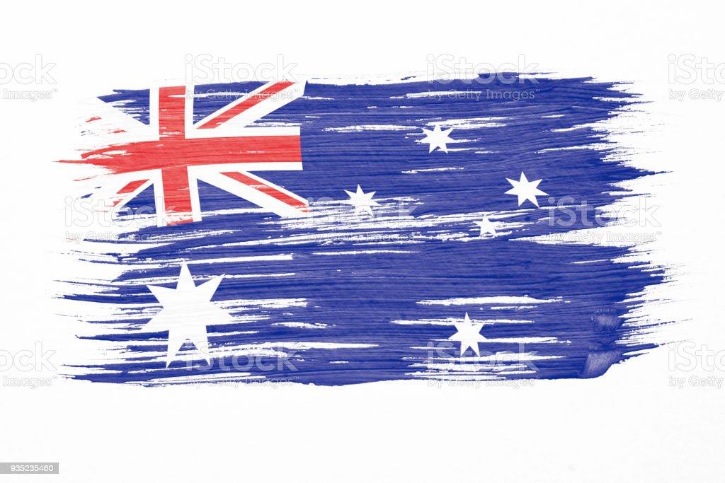 Art Pinsel Aquarell Malerei der australischen Flagge im Wind isoliert auf weißem Hintergrund geblasen. – Foto