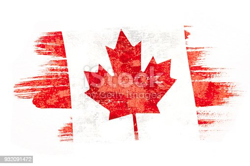 istock Art brush watercolor painting of Canadian flag blown in the wind isolated on white background. 932091472