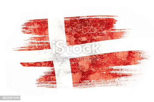 istock Art brush watercolor painting of Denmark flag blown in the wind isolated on white background. 932091540